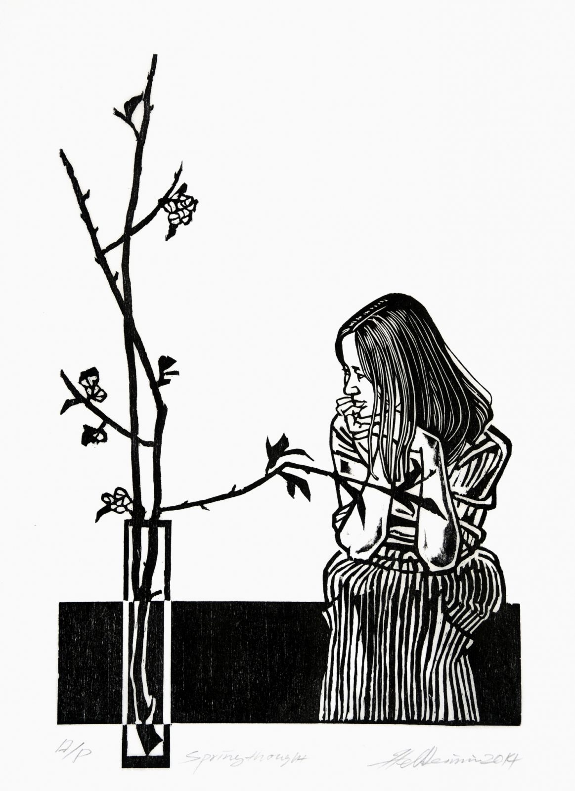 2014 Spring thought 30x19.6 cm woodcut edition 60