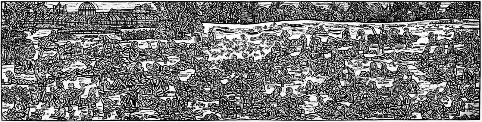In the Sunshine 2002 woodcut 40x160cm He Weimin 50