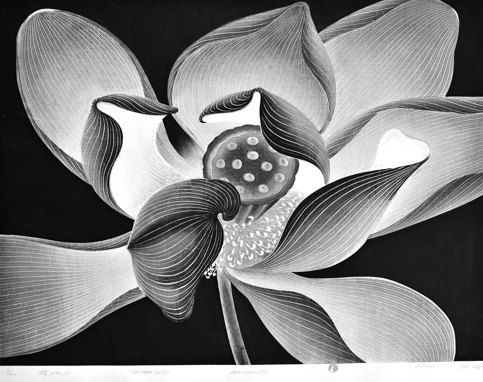 Lotus No.10 by Chen Qi,waterbased woodcut 1994