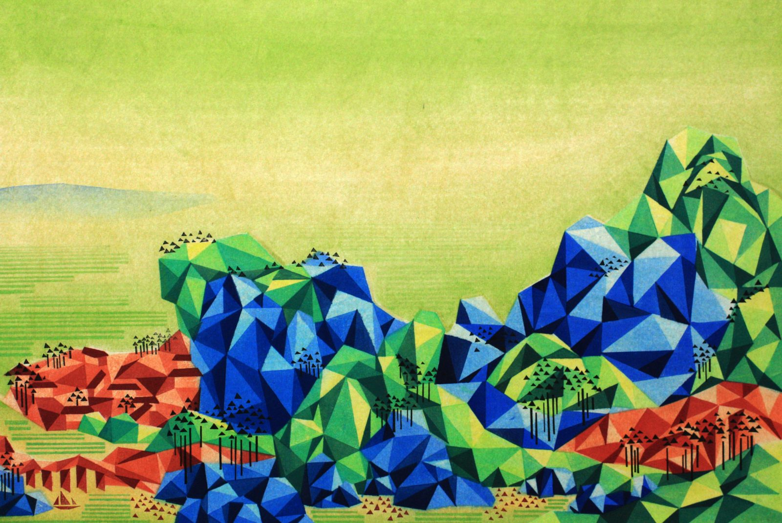 Reconstructed Landscape I 重构山水-1,50cm×75cm, Waterbased Woodcut 2014