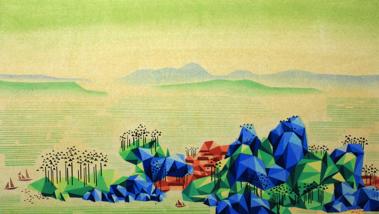 Reconstructed Landscape II《重构山水》-2,50cm×88cm 2014