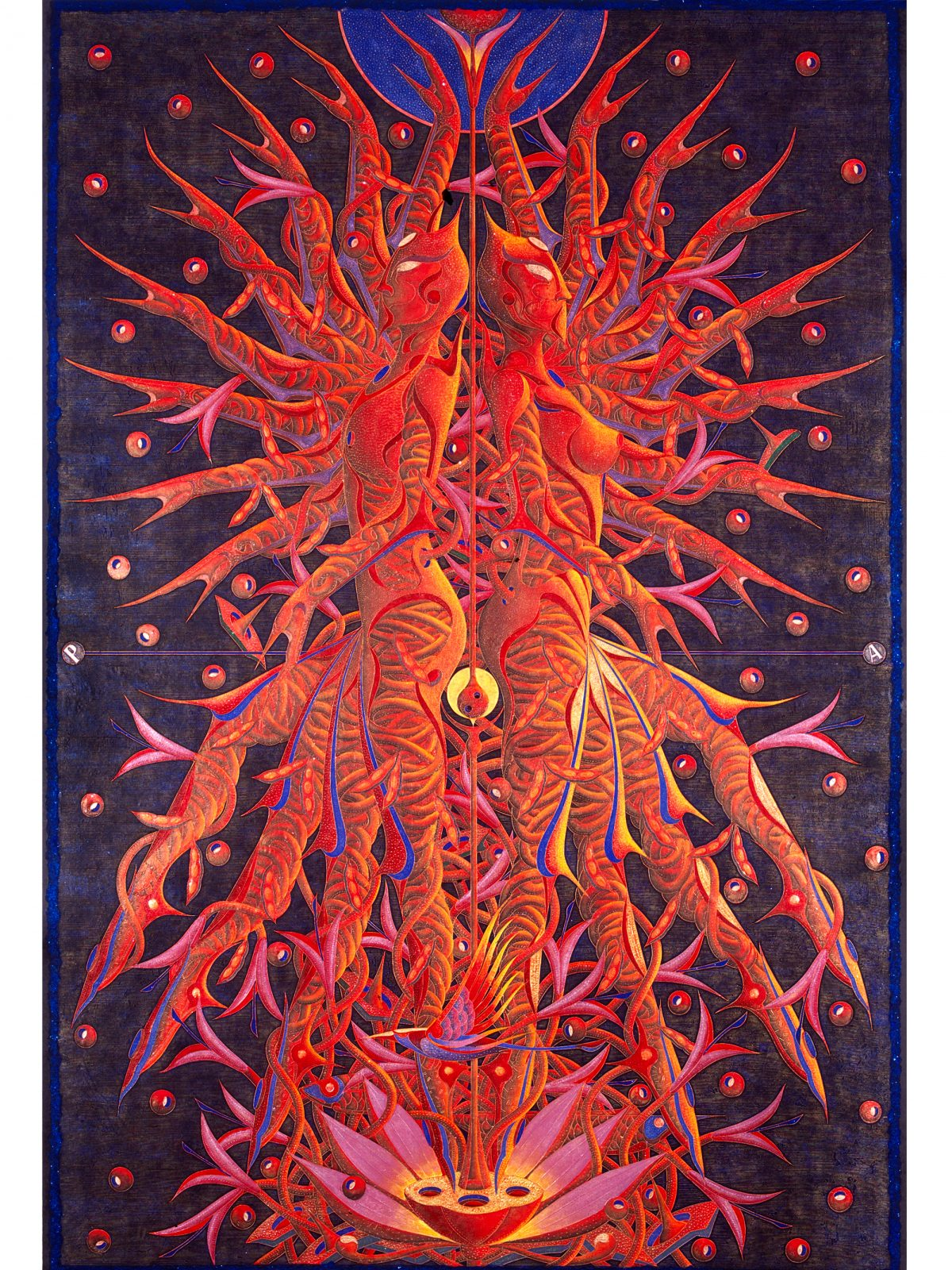 'Red-Life,Harmonious'-woodcut-with-acrylic-modelling-paster-and-minerals-on-paper,150x100cm,2005