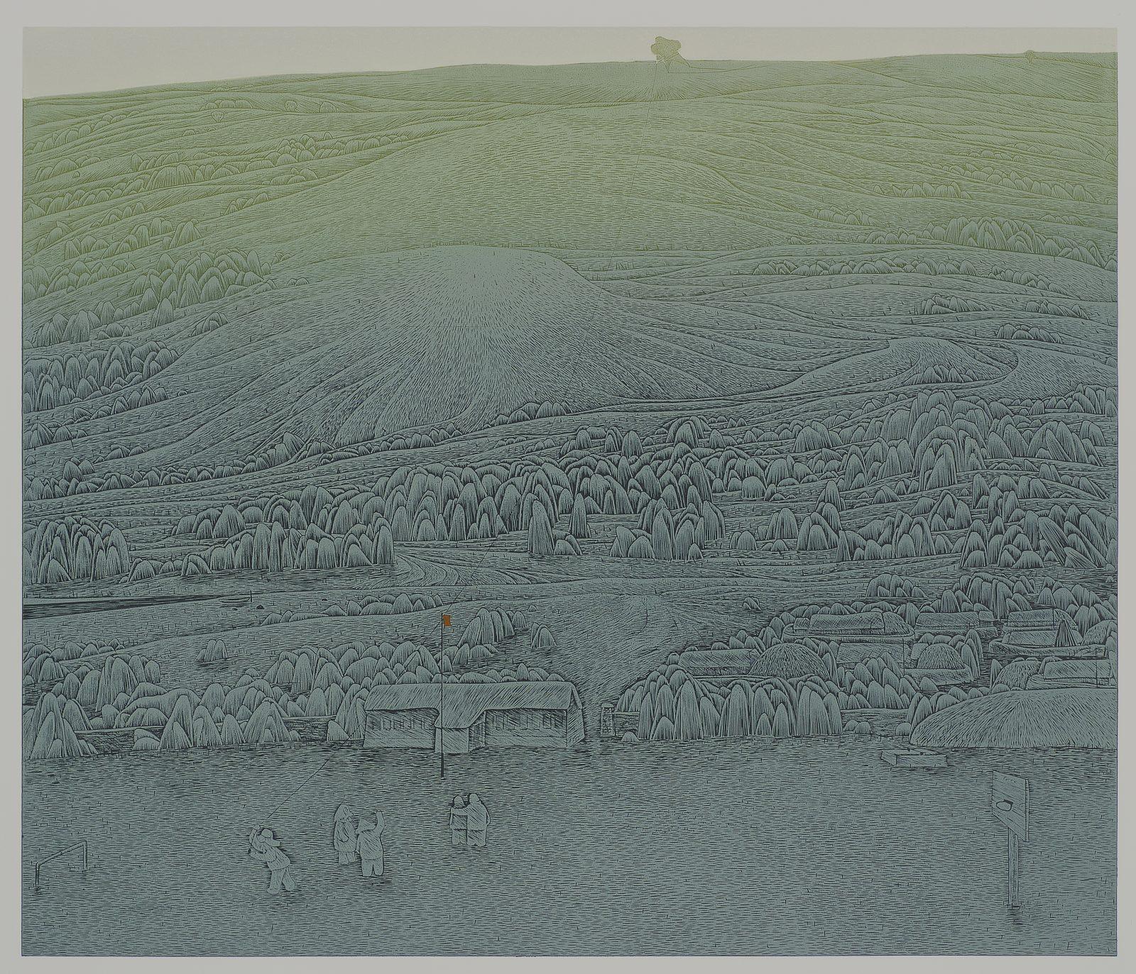 Run Upon 萦 66x80cm,woodcut 1994