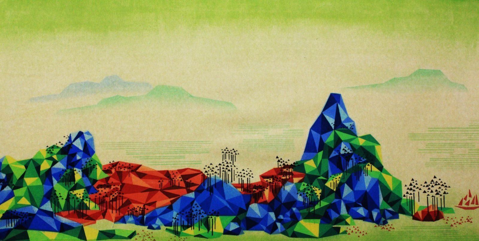 Reconstructed Landscape , 重构山水-8, 50cm×100cm,2014