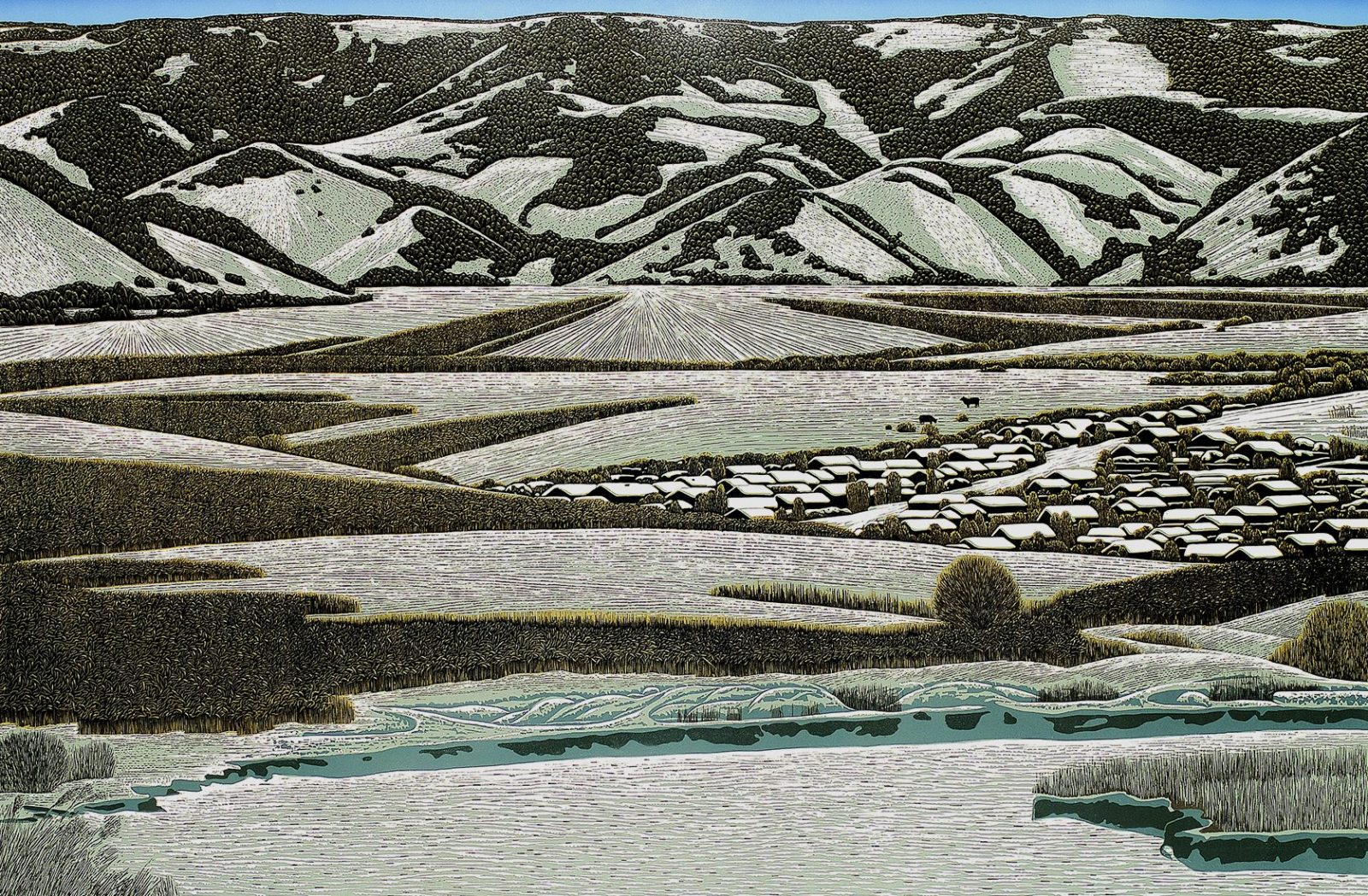 The-Winter-at-Lianghe-Village-by-Yu-Chengyou100x150cmwoodcut-2011Artchina