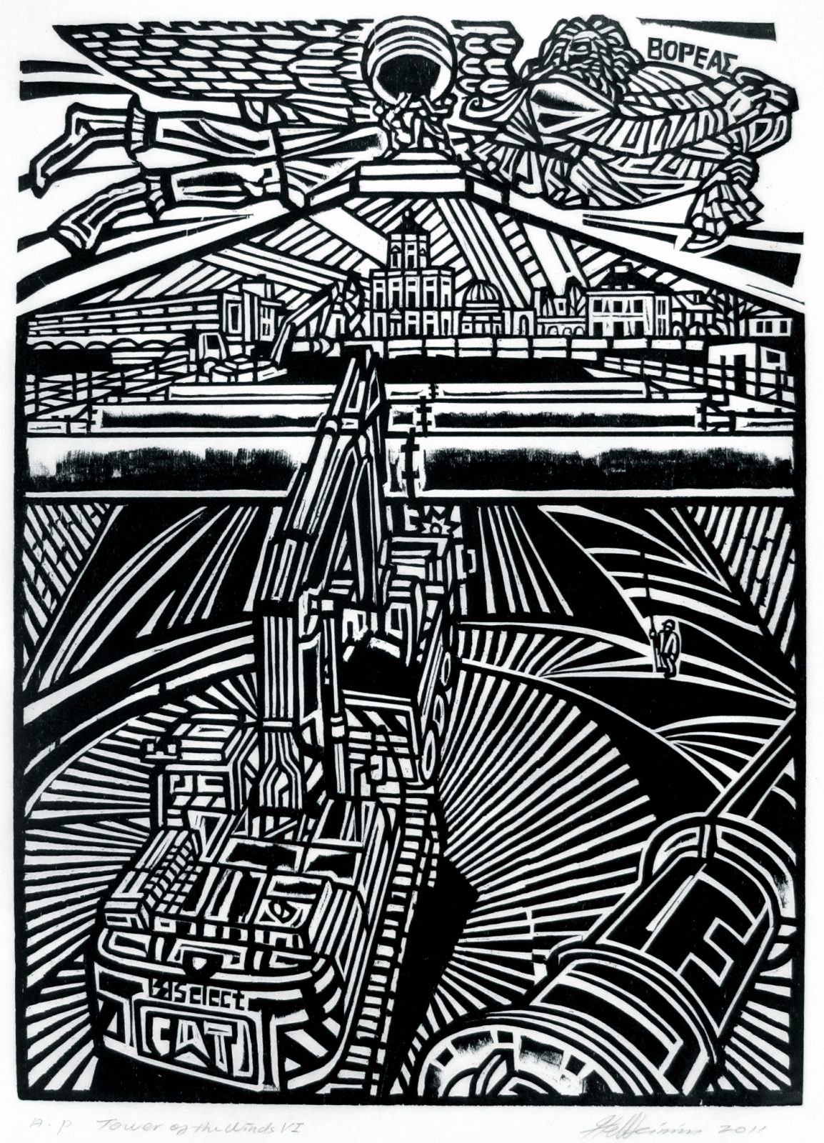 Tower of the winds VII, image size: 36x26cm, woodcut,2012, Edition:60