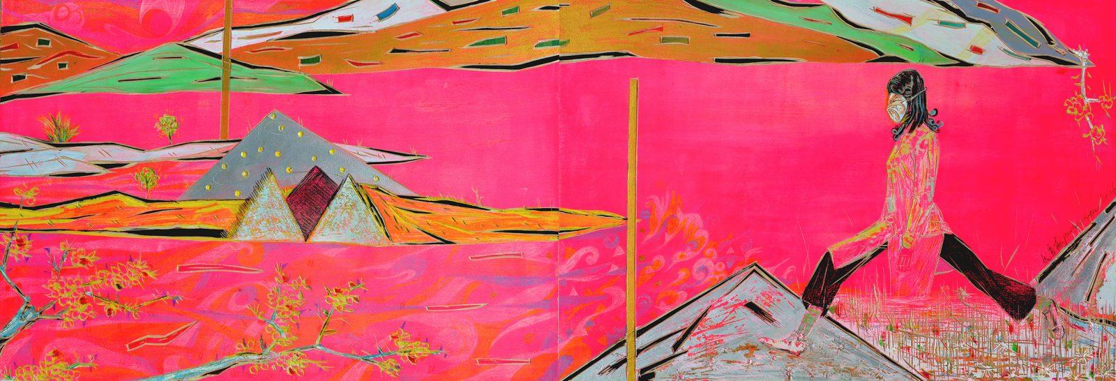 Pang Xinsen 庞辛森, 'Rosy landscape' 玫色山水 90 x 30 cm, 2016.jpg