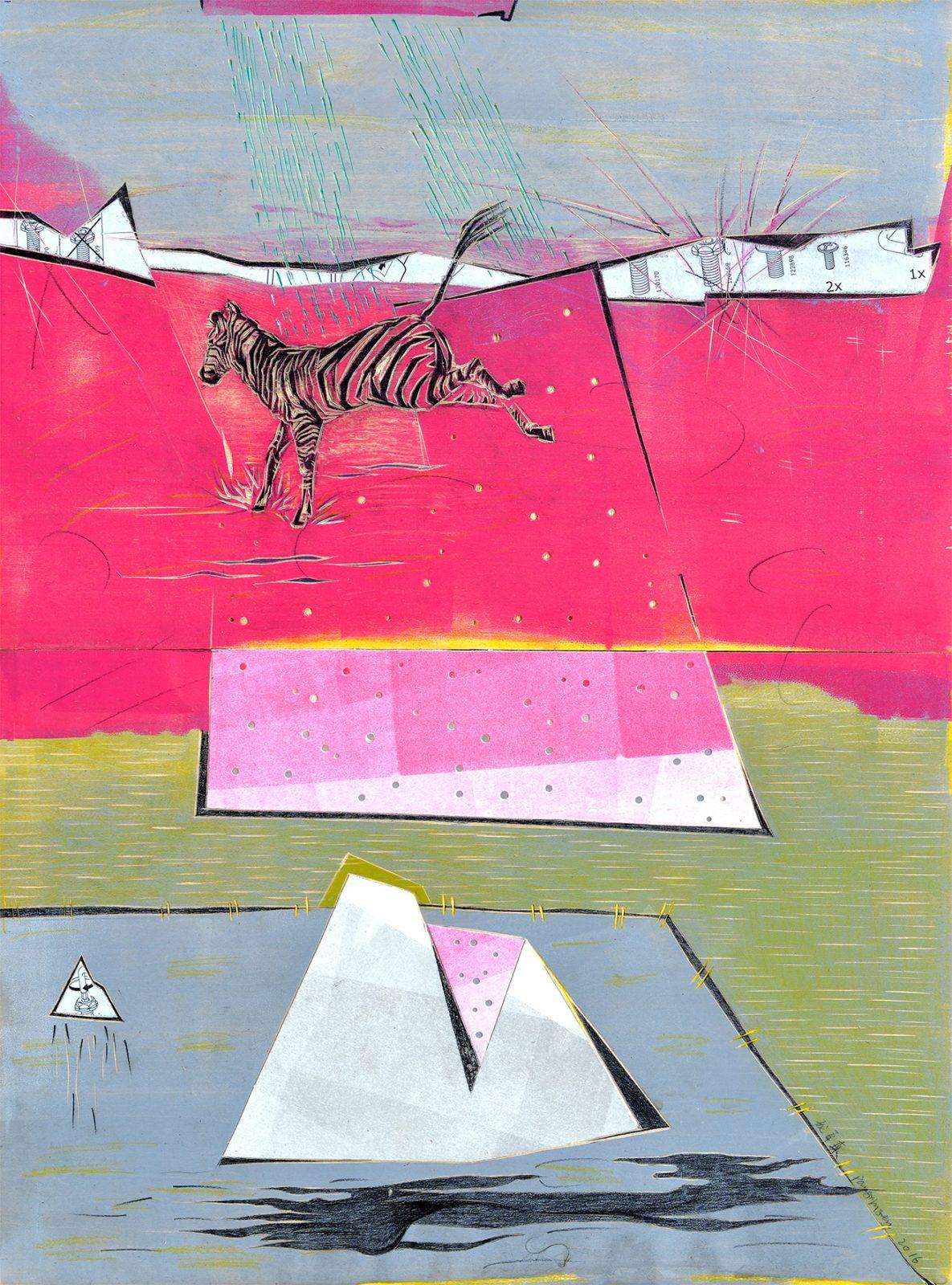 Pang Xinsen 庞辛森 Zebra's Red Storm '斑马的红色风暴' 60 x 45 cm, 2016