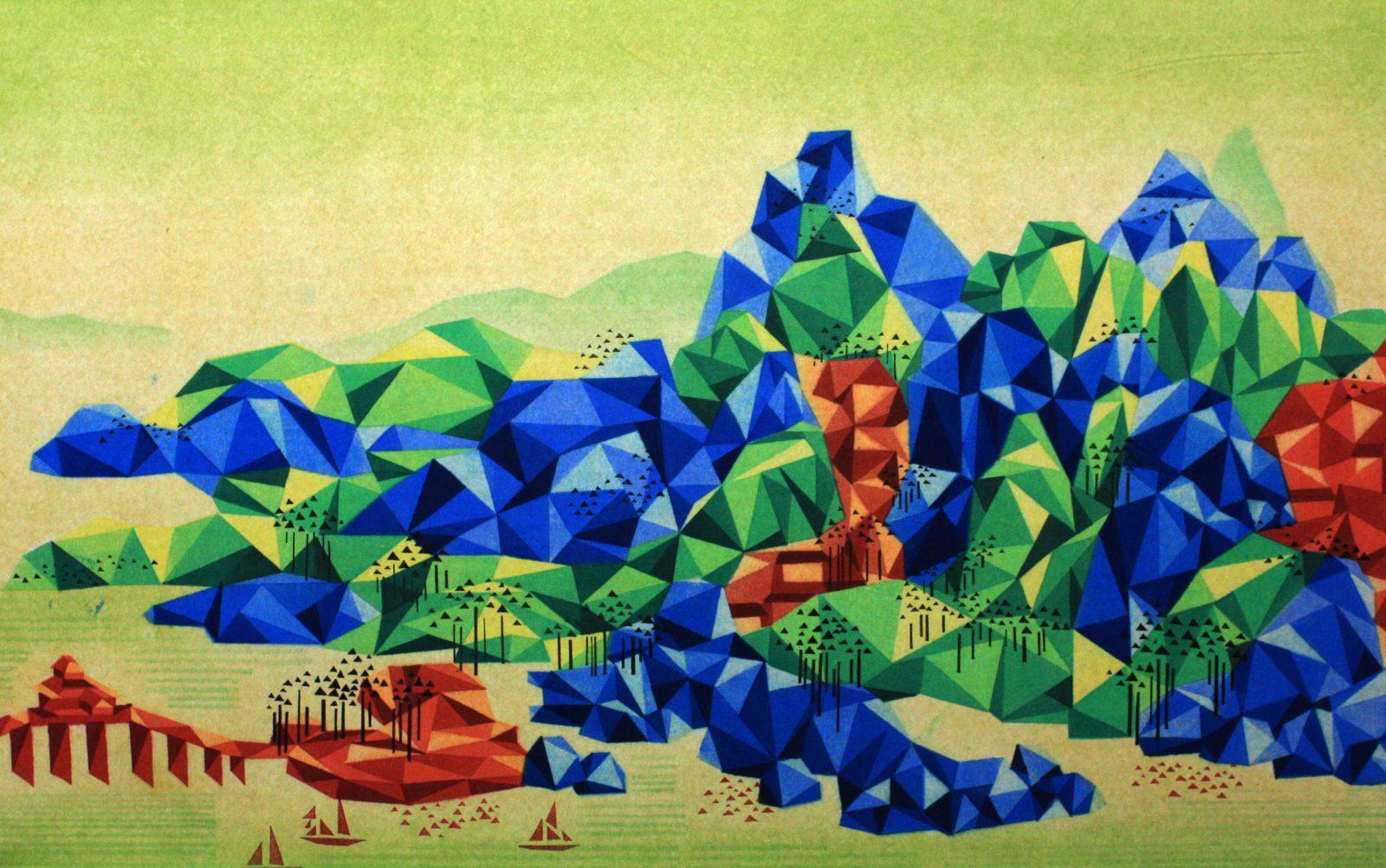 Reconstructed Landscape 《重构山水-4》45cm×80cm, 2014