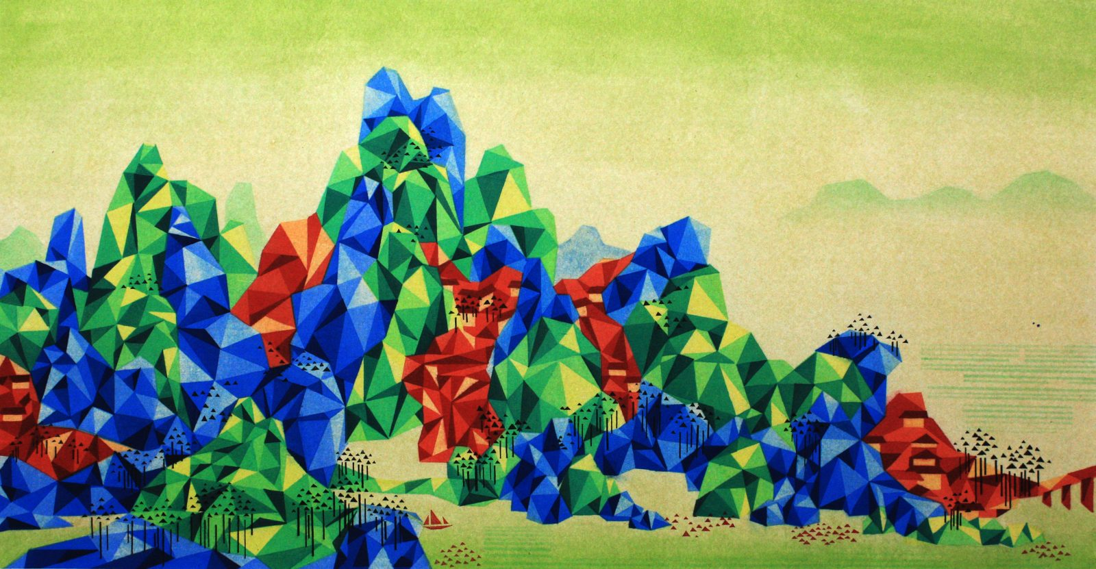Reconstructed Landscape 《重构山水-5》50cm×100cm, 2014