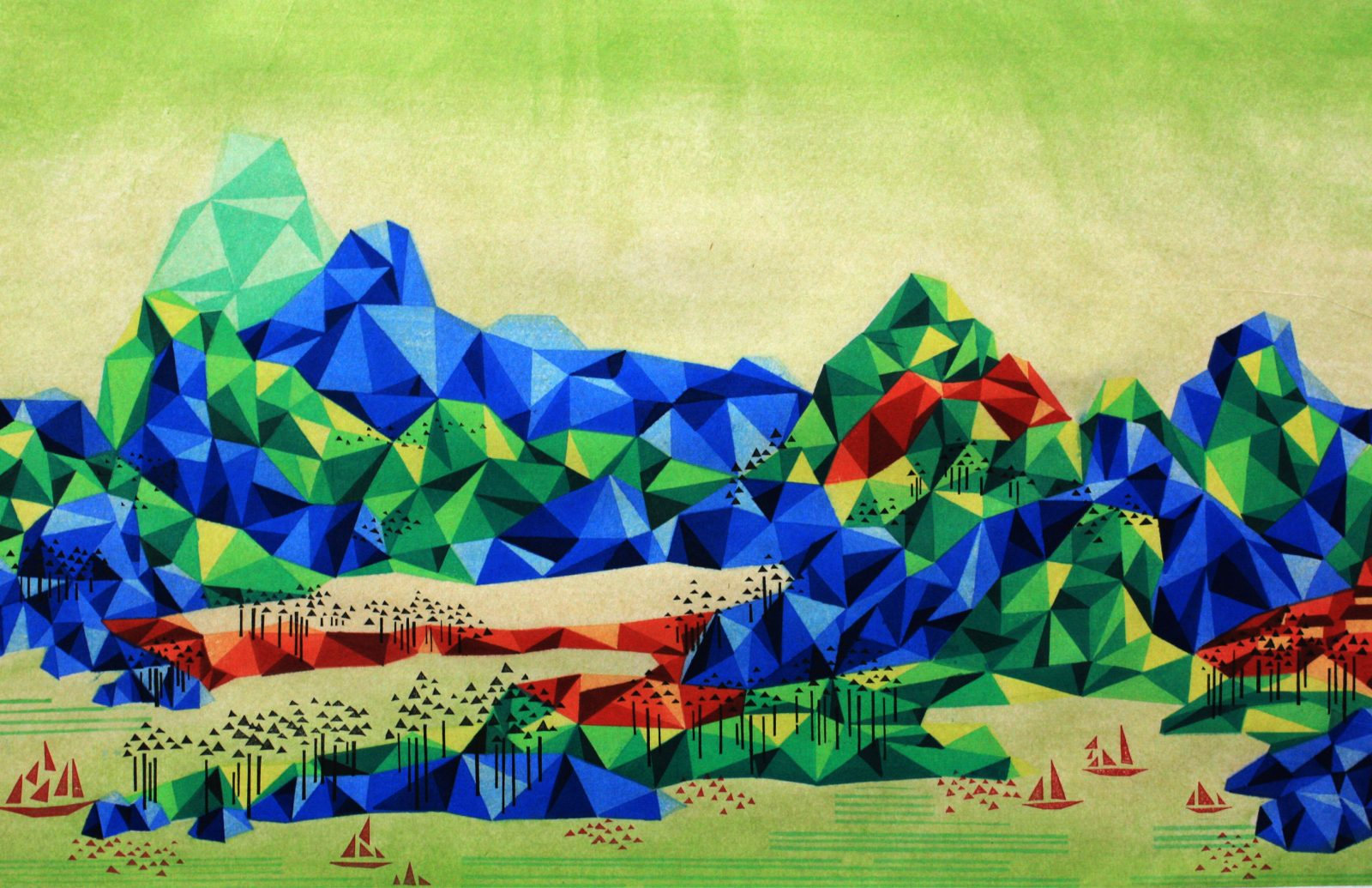 Reconstructed Landscape 《重构山水-6》, 50×78cm, 2014,waterbased woodcut