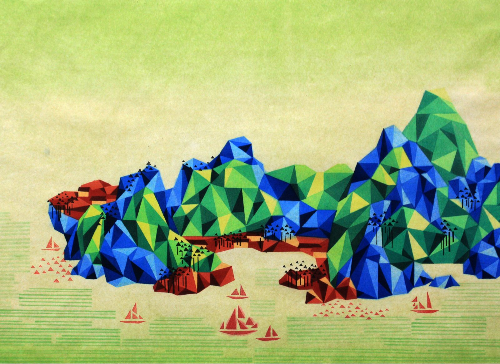 Reconstructed Landscape ,《重构山水-7》, 50×68cm, 2014 Waterbased woodcut