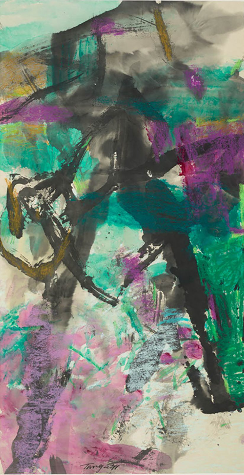 River Thames1 74x143cm Mixture Watercolour, Ink, oil pastel, Painting copy